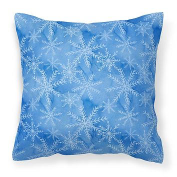 Watercolor Dark Blue Winter Snowflakes Fabric Decorative Pillow BB7576PW1414