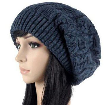 CREYCI7 Women Warm Casual Beanies Stripes Knitted Female Hat Autumn Winter Cap For Girl