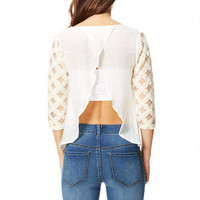 Crochet Sleeve Top - Ivory