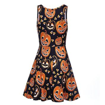 Halloween Pumpkin Print Short Dress PUNK RAVE Women Novelty Halloween Christmas Gothic Punk Dark Lolita Bandage Backless Dress
