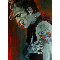Lowbrow Broken Hearted Art Print by Artist Mike Bell