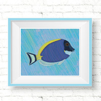 Powder Blue Tang Fish Poster, Printable Fish Print, Fish Nursery Wall Decor, Abstract Ocean Art Print, Digital Nursery Poster Nautical Decor