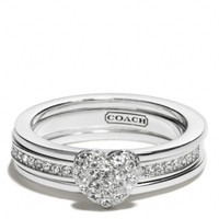 Coach :: New Sterling Pave Heart Convertible Ring