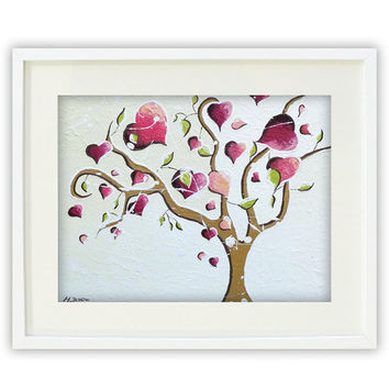 Pink Tree of Life Giclee Print, Pink Heart Wall Art, Whimsical Tree Art, French Country Decor 11x14 Signed
