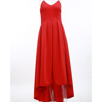 Noble Red Strapless High Waist Pleated Ball Gown Maxi Dress For Women LAVELIQ