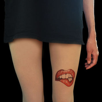 Lips tattoo tights, hand painted