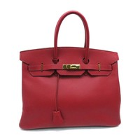 Hermes Ardennes Leather Birkin 35 Gold Metal Tote Bag Rouge Casaque 7552