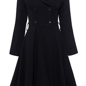 Atomic Black Double Breasted Lapel Dress