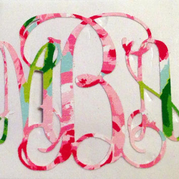Monogrammed Lilly Pulitzer Print Decal - Southern, Sorority,  Big/Little Gift, Laptop, Car Vinyl Decal