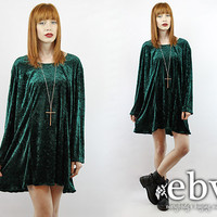 Vintage 90s Green Crushed Velvet Mini Dress 2X 3X 90s Grunge Dress Green Velvet Dress Babydoll Dress Plus Size Vintage Plus Size Dress