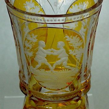 629190 Crystal Friendship Cup Amber Flashed with 3 oval panels of engraved people with extensive cutting