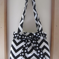Chevron Shoulder Pleated Handbag, Purse Ipad Netbook Tote  in Black and White Made in USA
