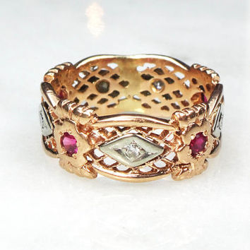 Retro 14k Gold Wedding Band Vintage Floral Diamond Wedding Band 14k Rose Gold Ring Ruby Wedding Ring Bridal Floral 8 mm Wide