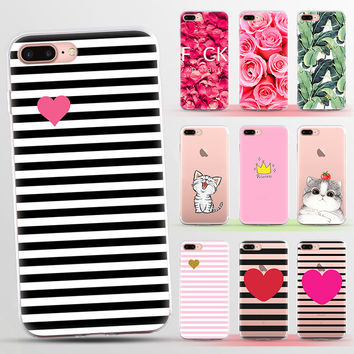 TPU Case For iphone 7 Case For iphone 5S 5 SE 6 6s 6plus 7plus Silicone Fruit Flower Plant Cactus Stripes Pattern Phone Case