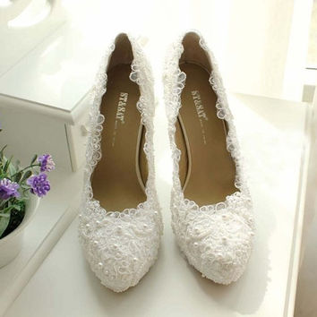 White lace high heels lace wedding shoes Bling bridal shoes prom shoes cute wedding heels bridal heels custom shoes,shoes  ivory  shoes
