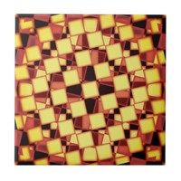 Red and yellow checkered pattern tile