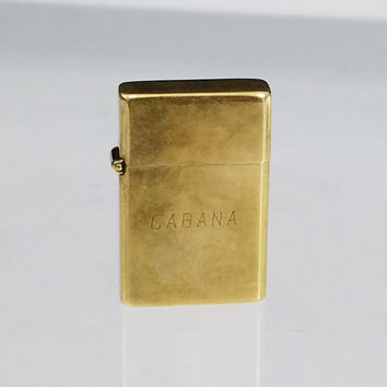 Minix Vintage Japan Brass Miniature Lighter Cabana Thin Pocket Cigarette Lighter