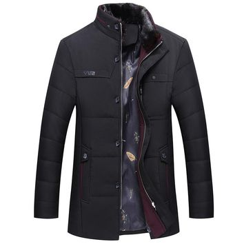 Casual Stand Fur Collar Men Coat Slim Medium Long  Winter Jacket