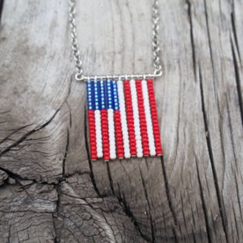 American Flag Pendant necklace - Beautiful beaded jewelry - hand strung seed bead Necklace - Perfect patriotic summer jewelry for bbqs!