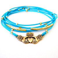 Claddagh Bracelet Set (Gold and Blue)