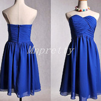 Short Royal Blue Sweetheart Bridesmaid Dresses,Short Royal Blue Prom Dresses,Custom Made Party Grown Party Dresses,Homecoming Dresses