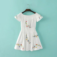 Short Sleeve Off-The-Shoulder Elastic Waist Embroidered A-Line Dress