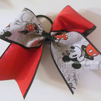 Vintage Minnie and Mickey Tick Tock Fabric Large Cheer Bow Hair Bow Cheerleading
