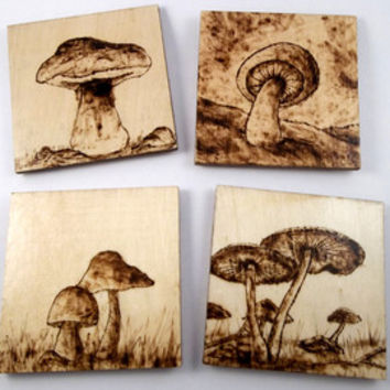 Wood Coasters, Wooden Coasters, Wood Burning, Pyrography, Rustic Coasters, Decorative Decor, House Warming Gift, Wood Burned Coasters, Bar