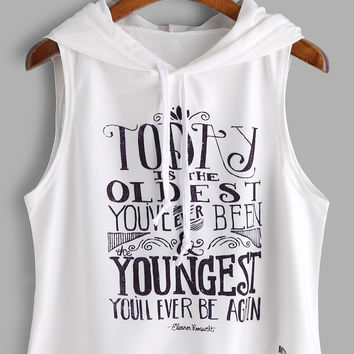 White Slogan Print Sleeveless Hooded Top