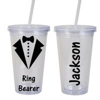 Ring Bearer Plastic tumbler - Wedding party gift for the perfect little ring bearer