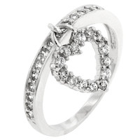 Simple Heart Charm Ring, size : 09