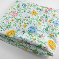 Vintage Flower Sheet Pink Green Blue Flower Sheet  Queen Bed Flower Flat Sheet Retro Pink Yellow Green Blue Floral Fabric Linens Bedding