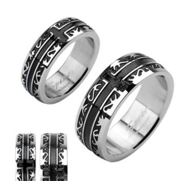 Oracle - Mesmerizingly Deep Black Band High Polished Stainless Steel Ring