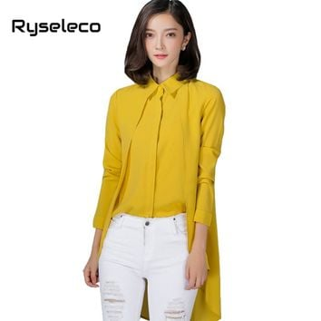 Ryseleco Women Pure Color Irregular High Low Dovetail Casual Blouses Ladies OL Formal Work Wear Panels Long Sleeve Shirts Tops