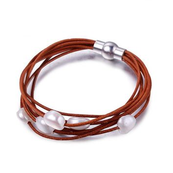 White Natural Baroque Pearl Bracelet 7 Layers Leather Bracelet