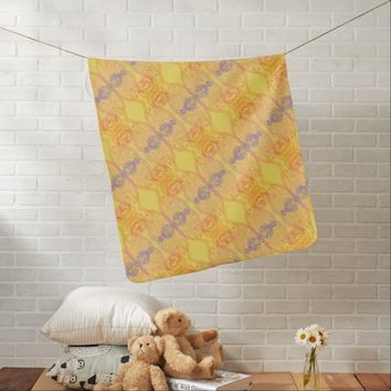 Warm Paisley Pattern Yellow Baby Blanket