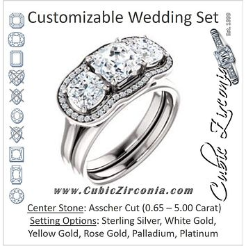 CZ Wedding Set, featuring The Aimi Namiko engagement ring (Customizable 3-stone Design with Asscher Cut Center, Large Round Cut Accents, Triple Halo and Bridge Under-halo)
