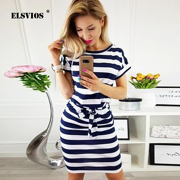 ELSVIOS O-Neck Striped Slim Dress Summer Female Bodycon Midi Dress Office Ladies Dress With Pockets and Belt Vestidos 10 Colors