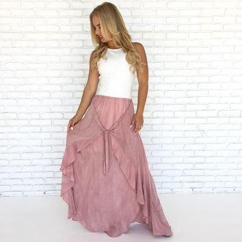 No Way Rosé Maxi Skirt in Dusty Pink