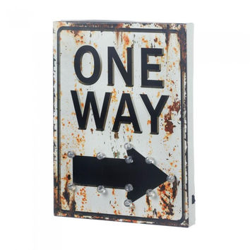Light Up One Way Sign