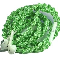 MyBuds Wrapped Tangle-Free Earbuds for iPhone   NEW Glam Satin Mint Green[   with Microphone and Volume Control