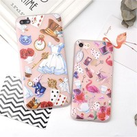 For iPhone 7  6 6s Case Cartoon Alice In Wonderland  Matte Cover