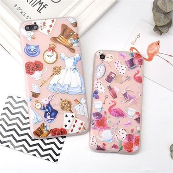 For iPhone 7 Case for iPhone 6 6s Case Cartoon Alice In Wonderland TPU Silicone Soft Matte Cover for 7 6s Plus Phone Cases Cute