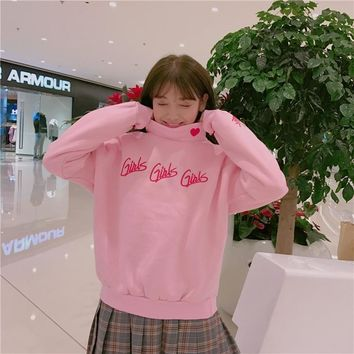 2018 Autumn College Wind High Collar Pullover Women Harajuku Cotton Ins Loose Plus Velvet Long Sleeve Letter Embroidery Hoodies