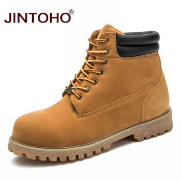 JINTOHO Big Size Fashion Winter Work Safety Shoes Casual Men Shoes Brand Ankle Men Boots Work Safety Leather Winter Male Boots