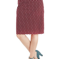 ModCloth Vintage Inspired Mid-length Pencil Connoisseur of the Moment Skirt in Zinfandel