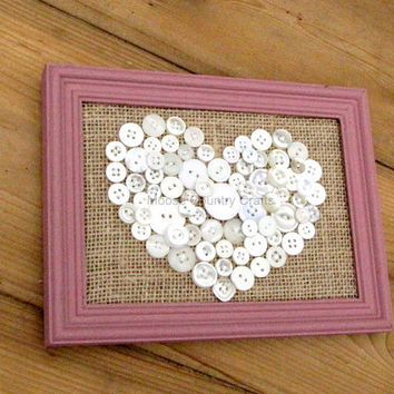 Heart - 5x7 framed button art white heart on burlap, wedding gift, baby shower gift, valentines, anniversary gift