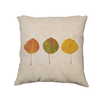 Autumn Leaves Throw Pillow Cover, Rustic Fall Farmhouse Decor, Aspen Leaf Photography, Decorative Photo Pillow Case,  18x18""