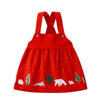 New Toddler Girl Dresses Animal Pattern Flannel Elegant Wide Dresses For The Girls In Kindergarten Cute Infant Dress Vest 1-6 Y