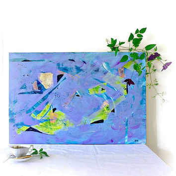 Modern Blue Violet Abstract Art - Original Large Contemporary Art - Original Mixed Media Art 24x36